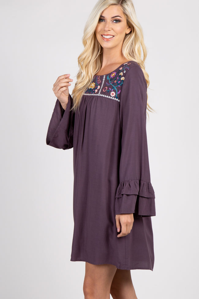 Charcoal Embroidered Ruffle Sleeve Maternity Dress
