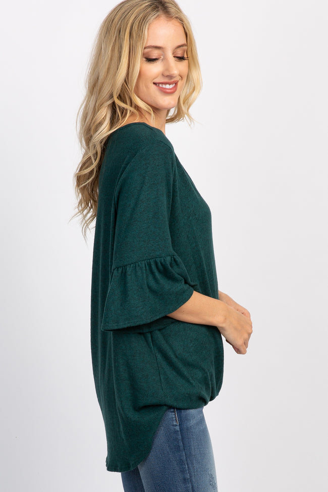 Green Ruffle Sleeve Draped Knit Top