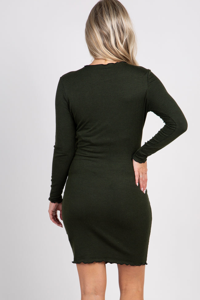 Olive Ribbed Long Sleeve Ruffle Trim Maternity Dress