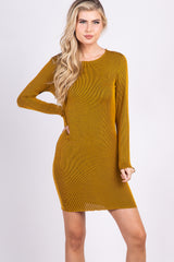 Mustard Ribbed Long Sleeve Ruffle Trim Dress