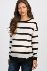 Black White Striped Front Tie Maternity Top