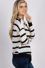 Black White Striped Front Tie Top