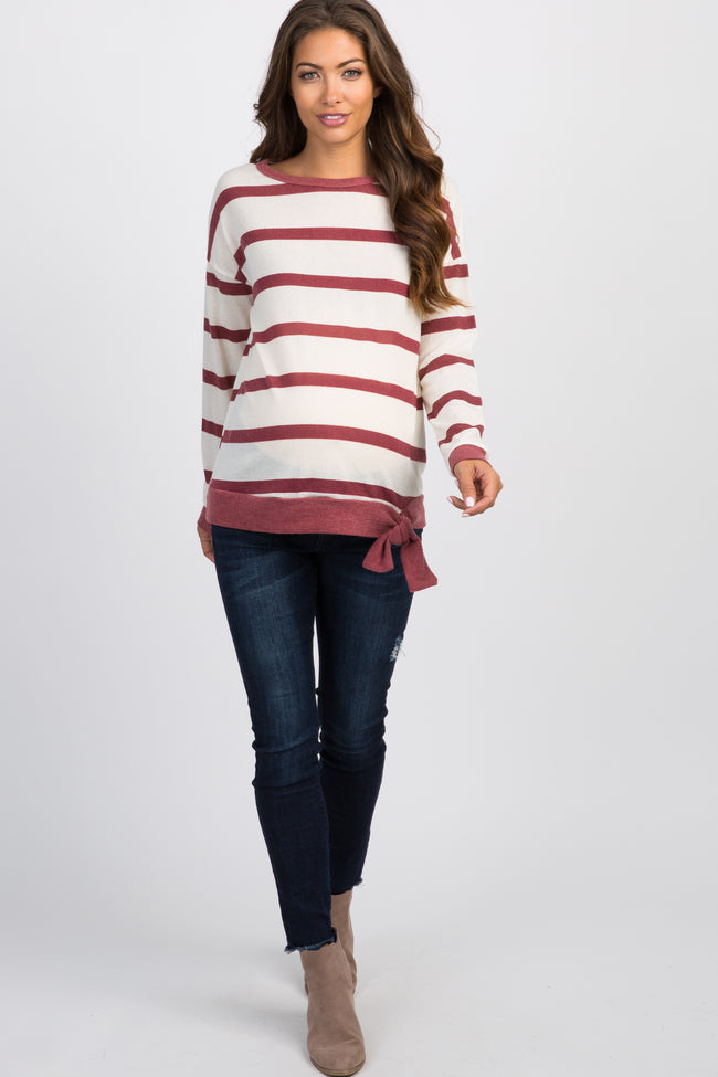 Rust Striped Front Tie Maternity Top
