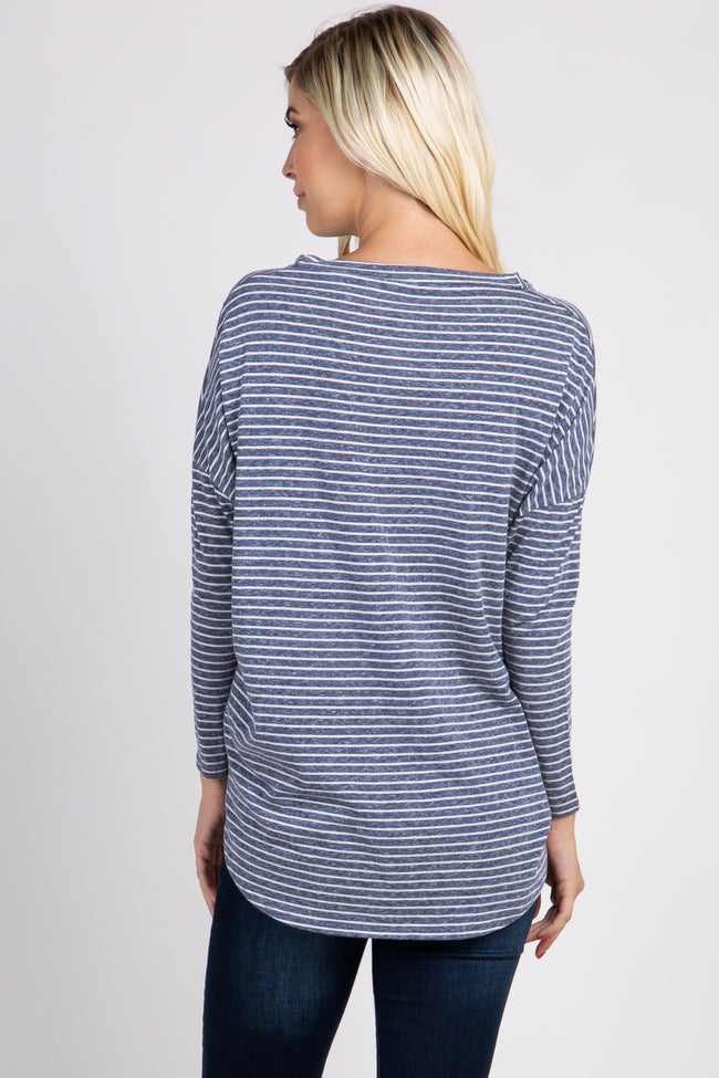Navy Striped Tie Front Top