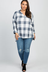 Blue Plaid Long Sleeve Plus Top