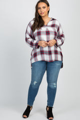 Red Plaid Long Sleeve Maternity Plus Top
