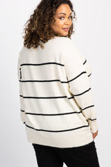 Ivory Striped Knit Dolman Plus Maternity Sweater