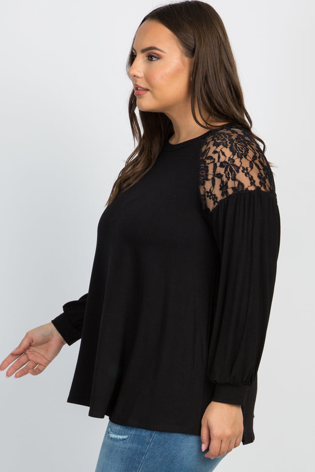 Black Solid Lace Long Sleeve Plus Top