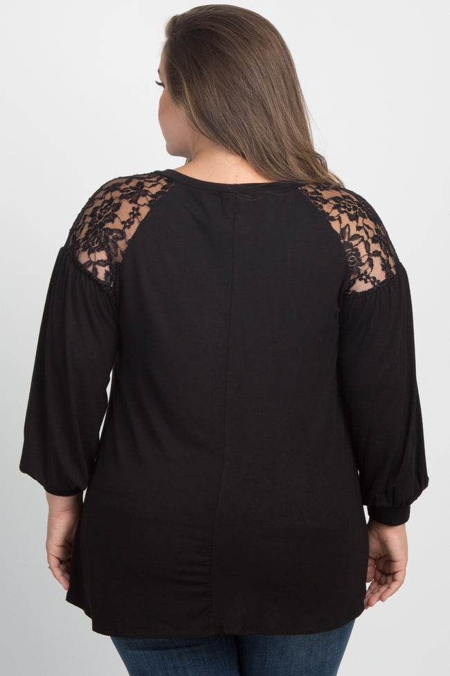 Black Solid Lace Long Sleeve Plus Maternity Top