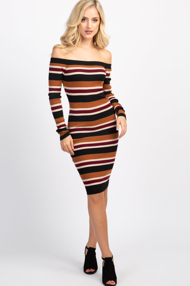 Multi-Color Striped Off Shoulder Fitted Knit Dress