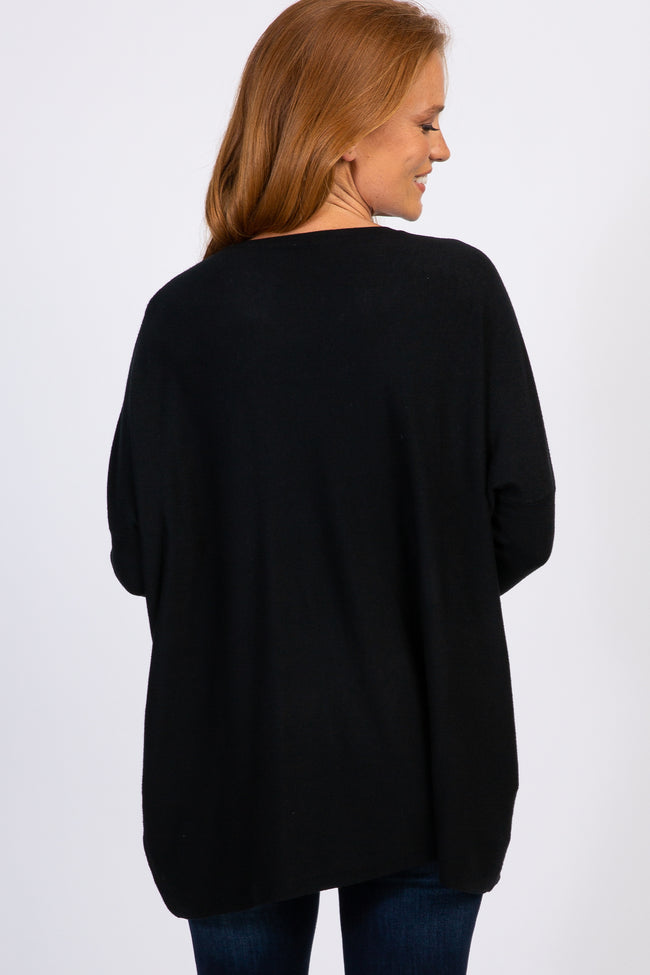 Black Pocketed Dolman Button Sleeve Top