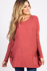 Rust Pocketed Dolman Button Sleeve Top