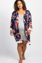 Navy Blue Floral Lace Trim Delivery/Nursing Maternity Plus Robe