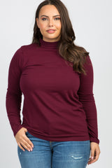 Burgundy Solid Long Sleeve Mock Neck Plus Maternity Top