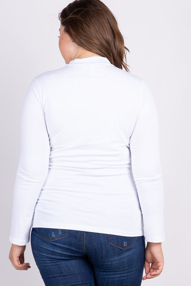 White Solid Long Sleeve Mock Neck Plus Maternity Top