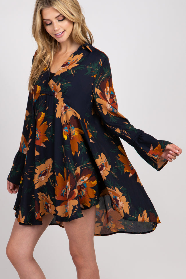 Navy Floral Ruffle Sleeve Collared Dress