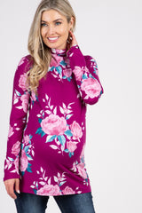 Magenta Rose Print Long Sleeve Mock Neck Maternity Top