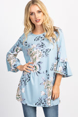 Light Blue Floral 3/4 Ruffle Sleeve Top