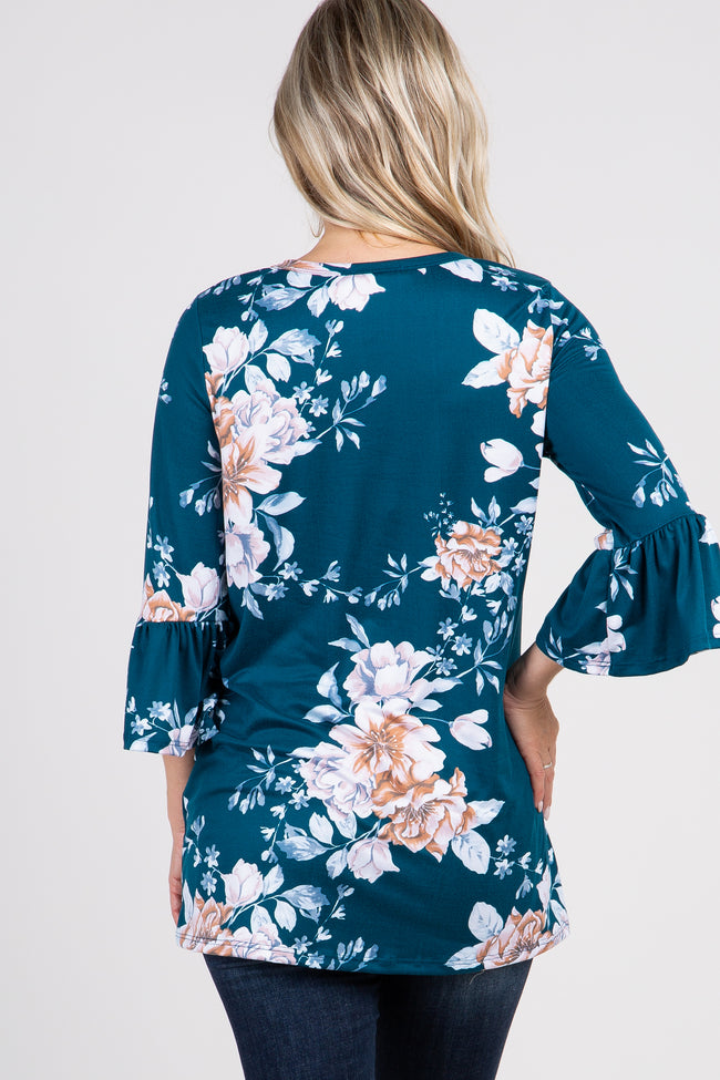 Teal Floral 3/4 Ruffle Sleeve Maternity Top
