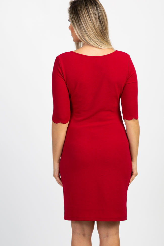 Red Solid Scalloped Trim Fitted Maternity Dress
