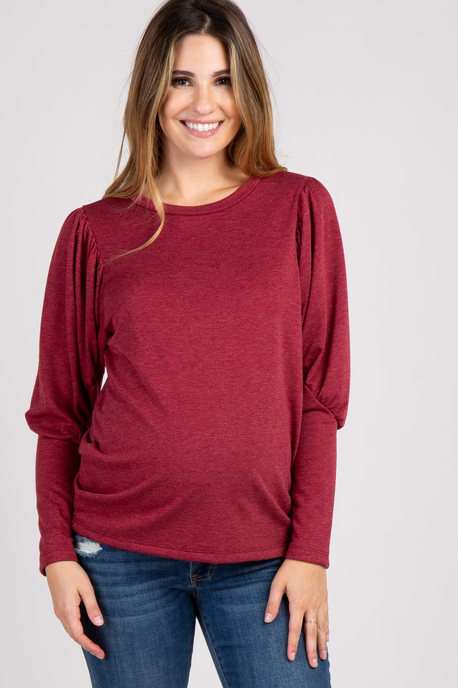 Burgundy Solid Puff Sleeve Maternity Top