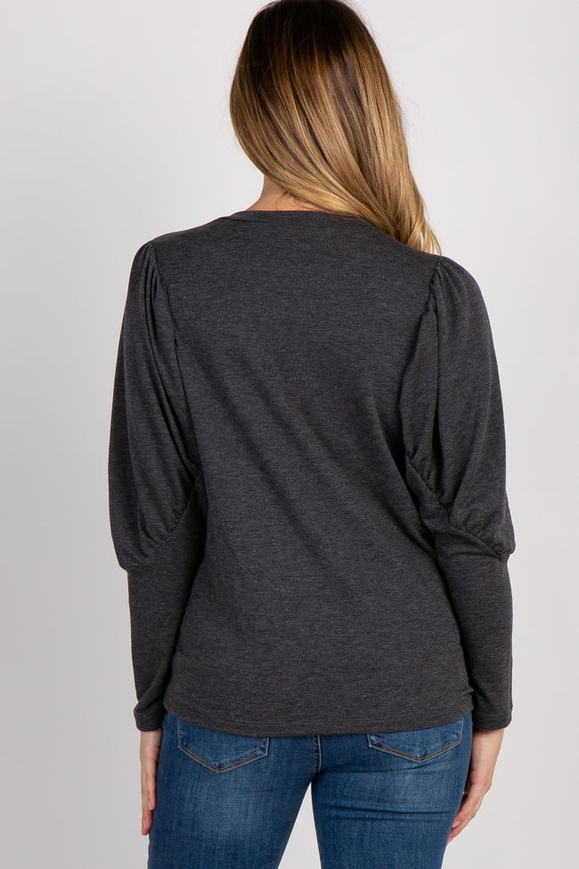 Charcoal Grey Solid Puff Sleeve Maternity Top