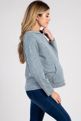 Blue Ribbed Long Sleeve Maternity Hoodie