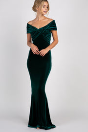 Forest Green Velvet Off Shoulder Mermaid Evening Gown