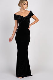 Black Velvet Off Shoulder Mermaid Evening Gown