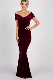 Burgundy Velvet Off Shoulder Mermaid Evening Gown