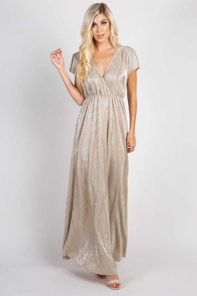 Gold Shimmer Maternity Wrap Maxi Dress