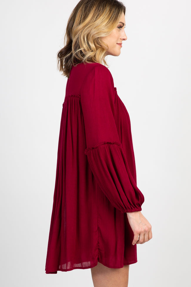 Burgundy Solid Puff Sleeve Shift Dress