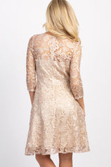 Mauve 3/4 Sleeve Lace Overlay Dress