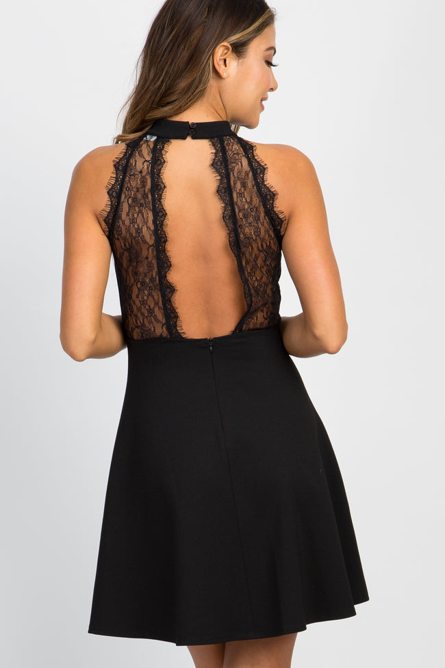 Black Lace Back Fit and Flare Dress