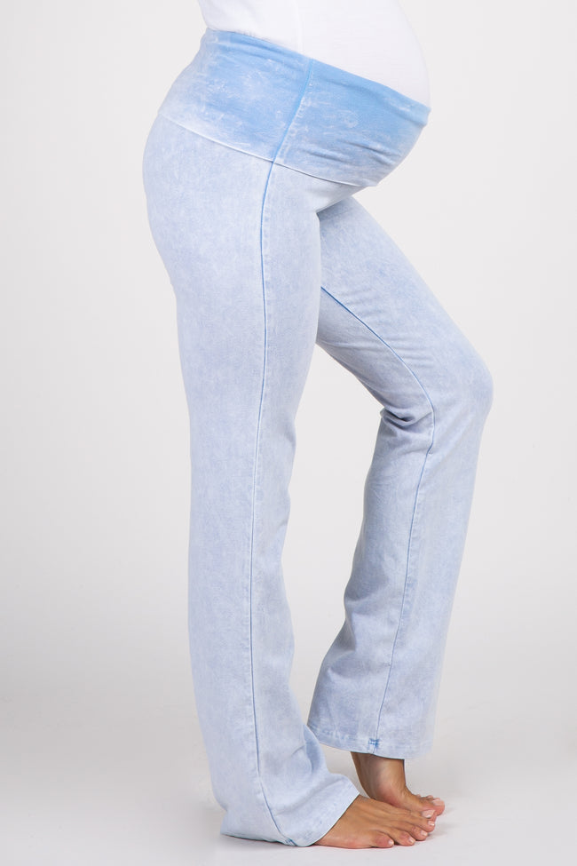 Light Blue Faded Wash Maternity Lounge Pants