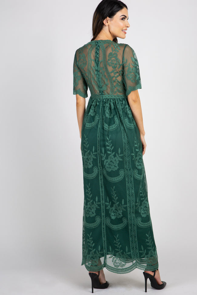 Teal Green Lace Mesh Overlay Maternity Maxi Dress