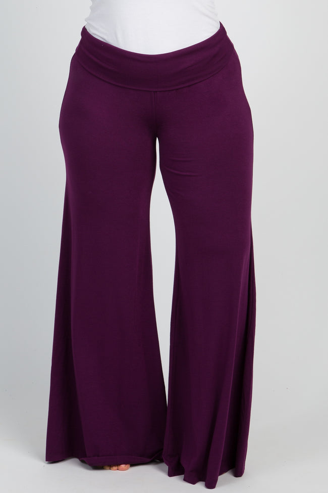 Plum Solid Wide Leg Plus Lounge Pants