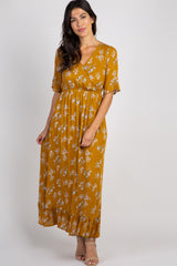 Mustard Floral Ruffle Trim Maxi Dress