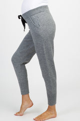 Heather Grey Glitter Maternity Joggers