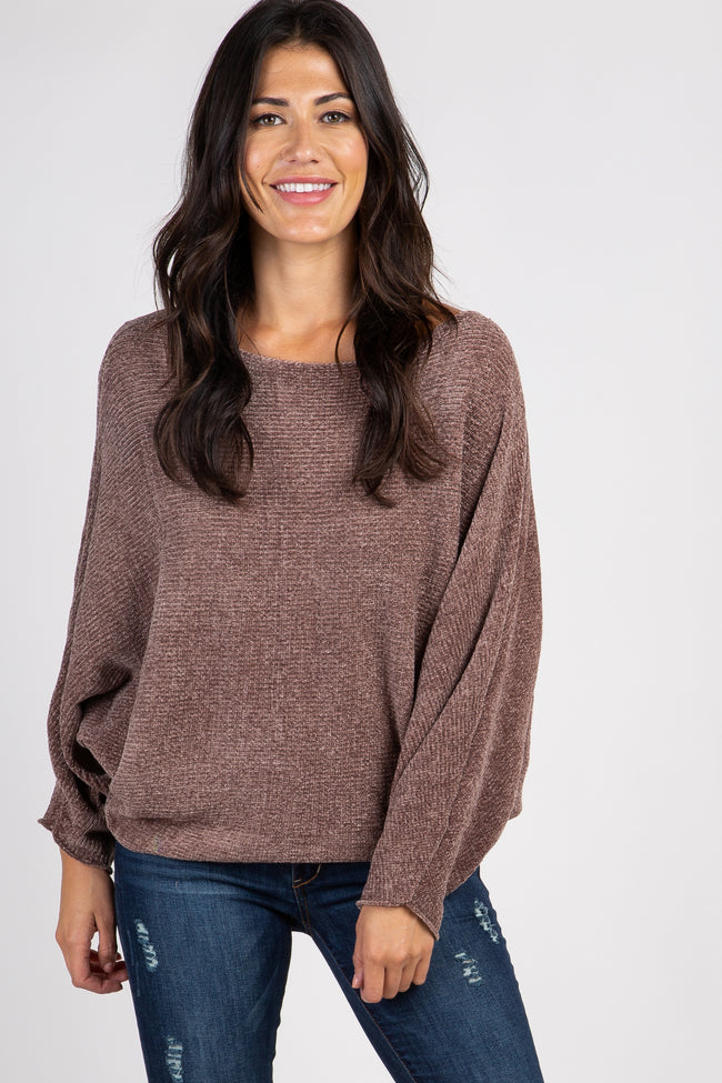 Brown Chenille Knit Boatneck Maternity Sweater
