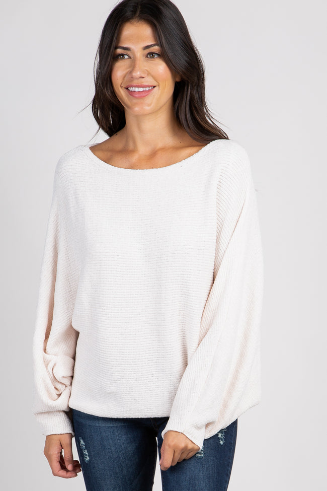 Cream Chenille Knit Boatneck Dolman Sweater
