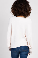 Cream Chenille Knit Boatneck Maternity Sweater