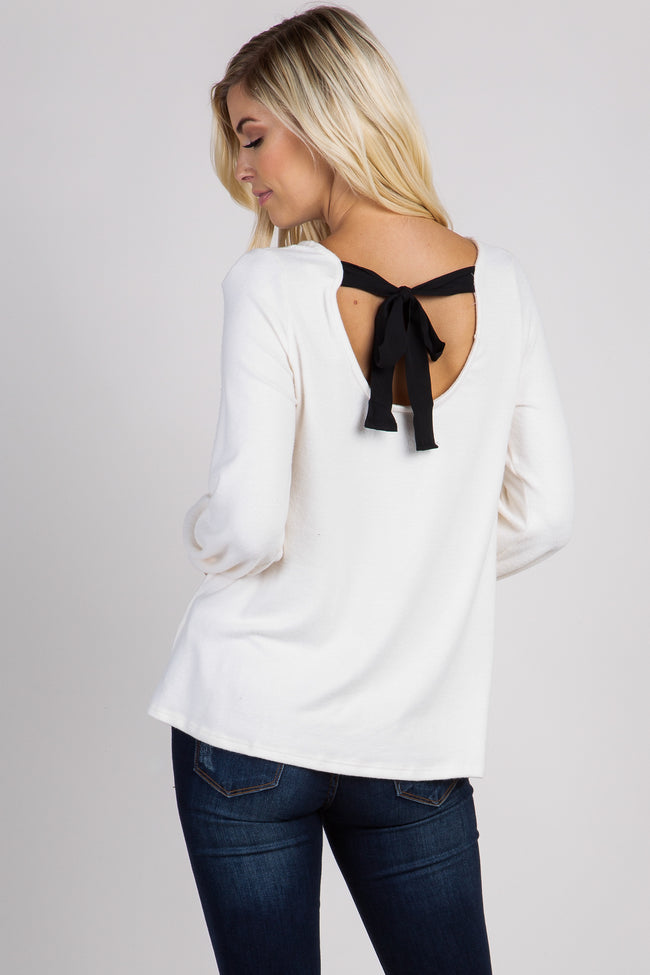 Ivory Long Sleeve Back Bow Top