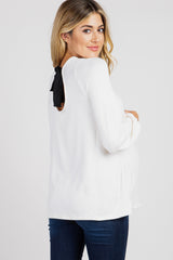 Ivory Long Sleeve Back Bow Maternity Top