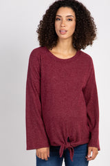 Burgundy Ribbed Front Knot Knit Maternity Top