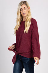 Burgundy Ribbed Front Knot Knit Top