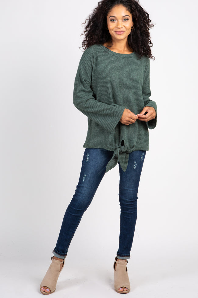Green Ribbed Front Knot Knit Top