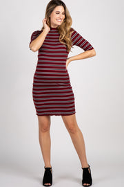 Burgundy Striped Lettuce Hem Maternity Dress