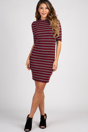 Burgundy Striped Lettuce Hem Dress