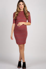 Red Striped Lettuce Hem Maternity Dress